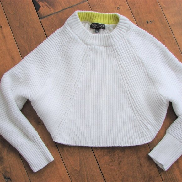 Topshop White Ribbed Cropped Sweater